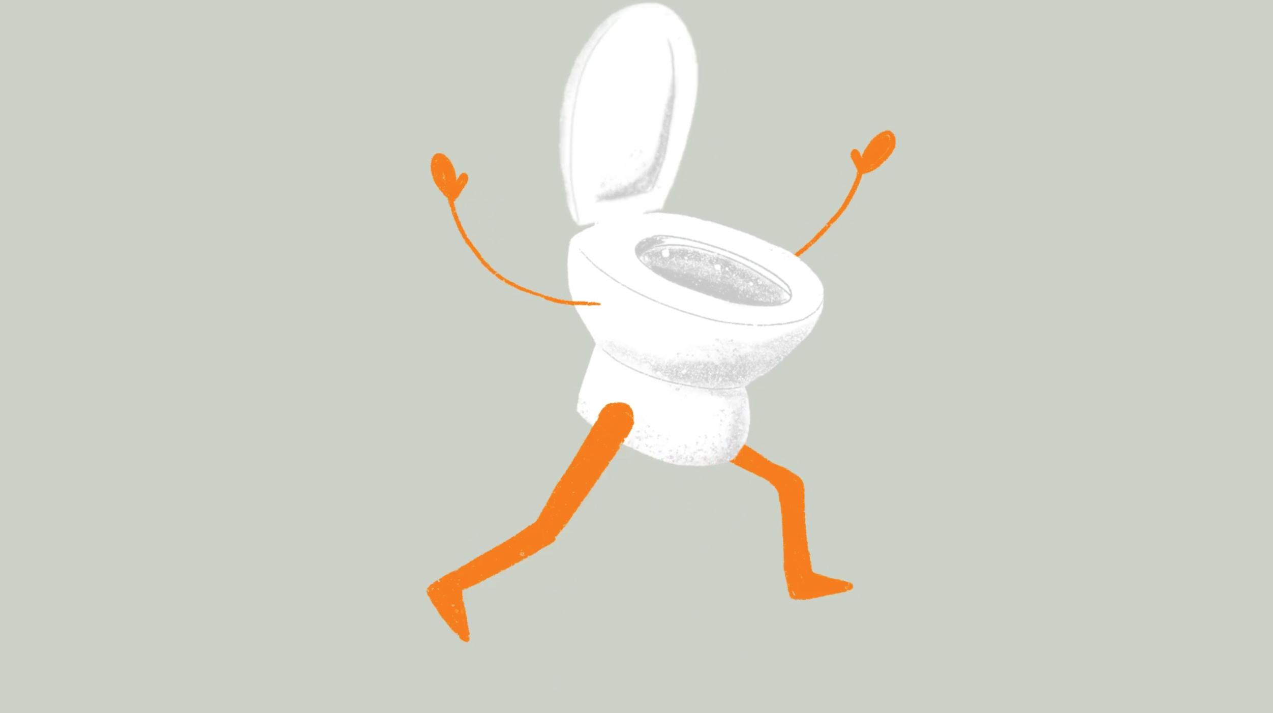 Løber toilettet animation Helsingør kommune klima skærm